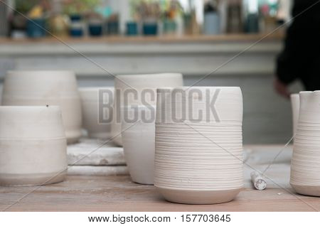 Hand Made Clay Pots In A Pottery Workshop