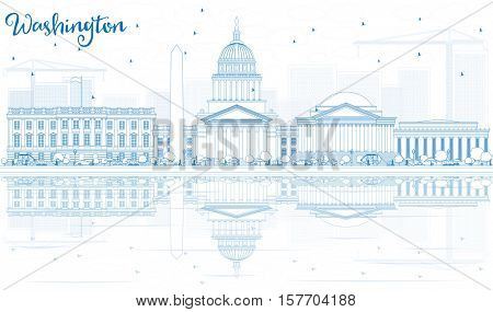 Outline Washington DC Skyline with Blue Buildings and Reflections. Vector Illustration. Business Travel and Tourism Concept with Historic Architecture. Image for Presentation Banner Placard and Web.