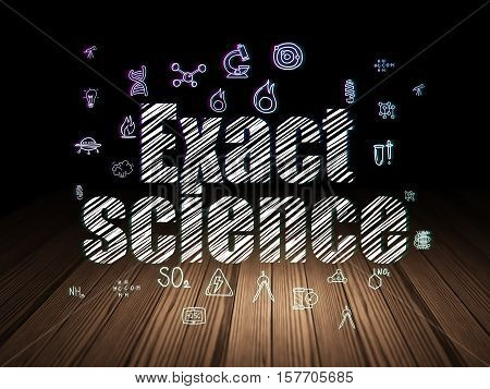 Science concept: Glowing text Exact Science,  Hand Drawn Science Icons in grunge dark room with Wooden Floor, black background