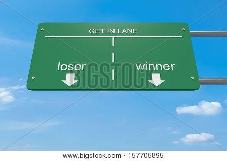 Get In Lane Business Concept: Loser Or Winner Road Sign 3d illustration