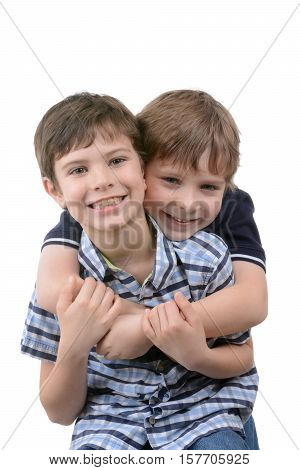 two boys playful isolated on white background
