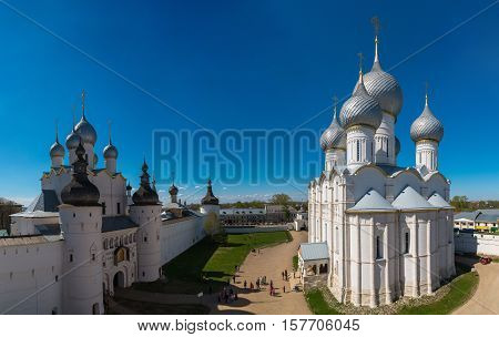 Rostov Kremlin. The Domes of the Church of the Resurrection of Christ and Assumption Cathedral. Rostov, Yaroslavl oblast, Russia. Golden Ring of Russia. It is part of the UNESCO World Heritage Site.