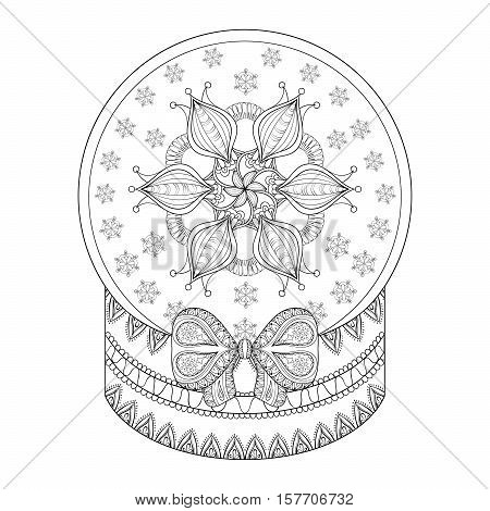 Vector zentangle Chriatmas snow globe with snow flake. Hand drawn ethnic decorative snowglobe for adult coloring book. Illustration for New Year 2017, posters and greeting cards