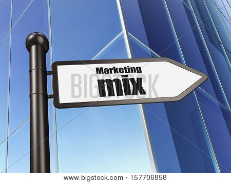 Advertising concept: sign Marketing Mix on Building background, 3D rendering
