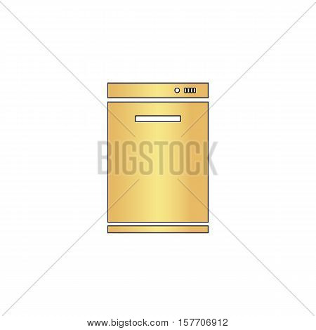dishwasher Gold vector icon with black contour line. Flat computer symbol