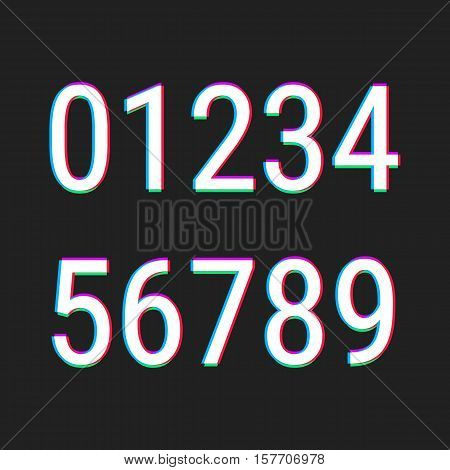 Numbers stock vector illustration with aberration effect.