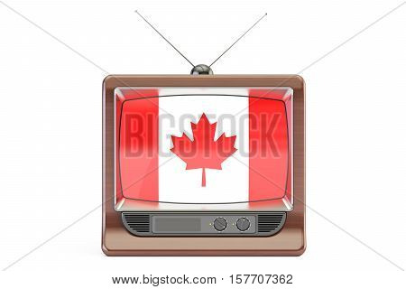 TV with flag of Canada. Canadian Television concept 3D rendering isolated on white background