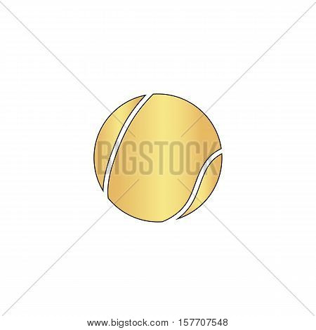 tennis ball Gold vector icon with black contour line. Flat computer symbol
