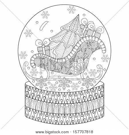 Vector zentangle snow globe with sledge, Christmas tree and gift boxes. Hand drawn ethnic decorative elements for adult coloring book. Vector illustration for New Year 2017 posters and greeting cards