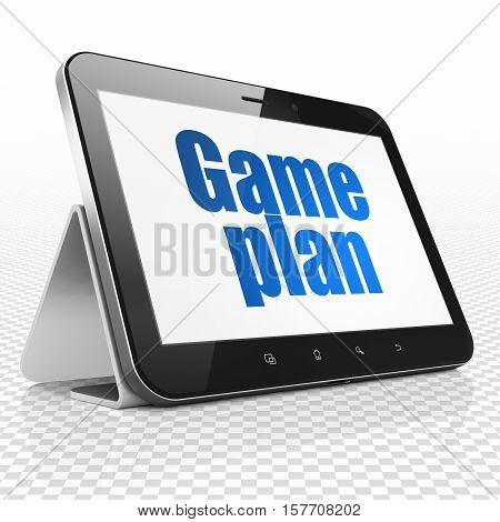 Business concept: Tablet Computer with blue text Game Plan on display, 3D rendering