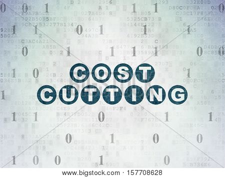 Business concept: Painted blue text Cost Cutting on Digital Data Paper background with Binary Code