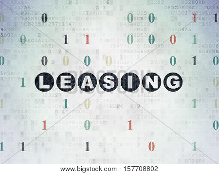 Finance concept: Painted black text Leasing on Digital Data Paper background with Binary Code