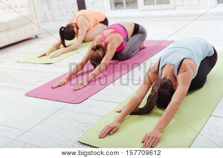 Just relax. Three young concentrated girls doing group exercises and stretching while spending day in a gym.