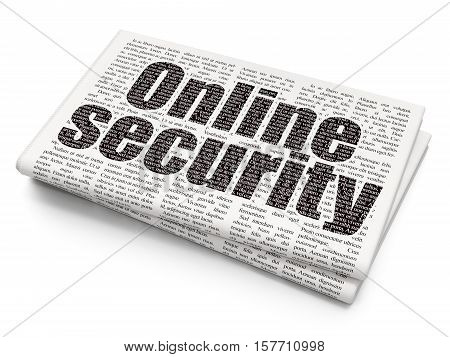 Safety concept: Pixelated black text Online Security on Newspaper background, 3D rendering