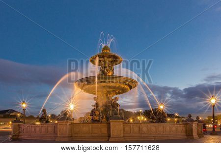 The fountain de la Concorde is monumental fountain designed by Jacques Ignace Hittroffand completed in 1840 during the reign of King Louis Philippe.