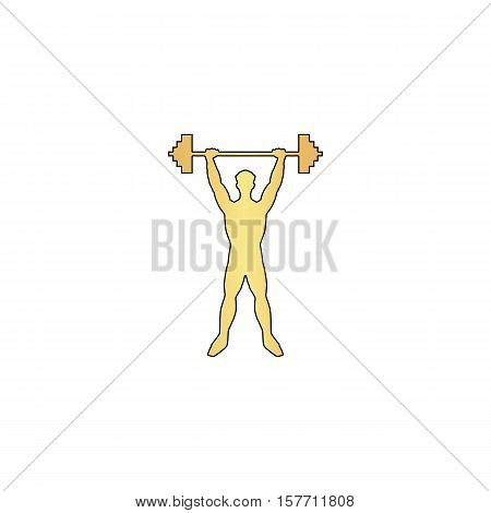 Strongman Gold vector icon with black contour line. Flat computer symbol