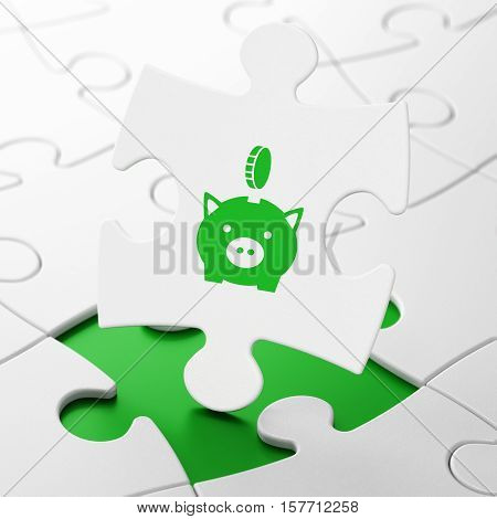 Currency concept: Money Box With Coin on White puzzle pieces background, 3D rendering