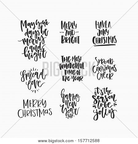 Christmas and New Year card design elements. Wonderful handwritten Christmas wishes for amazing holiday greeting cards. Handdrawn lettering.