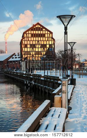 The winter city scape of the city of Klaipeda Lithuania.