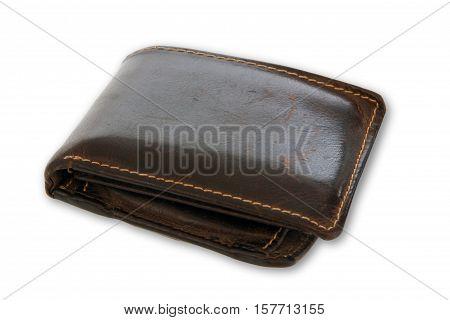 Brown wallet on bright background. Shot in Studio