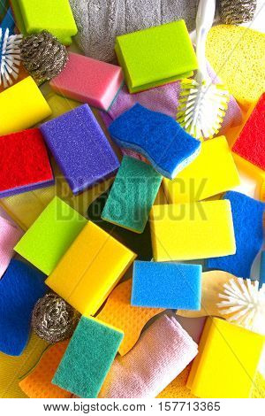 Colorful sponges in detail as background. Shot in Studio