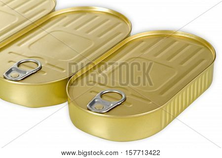 Golden Fish can isolated on white background