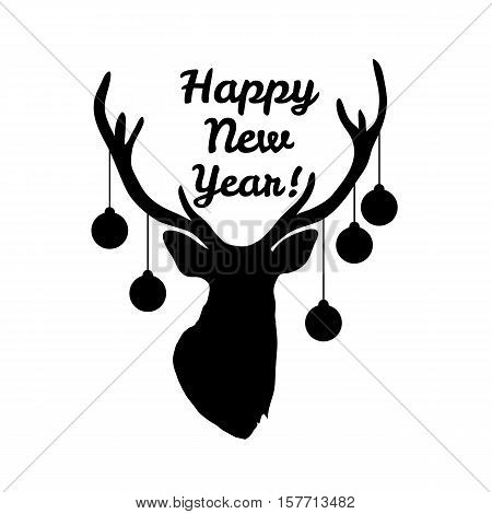 Sillhouette of deer head with christmas tree toys on horns isolated on white background. Art vector illustration.
