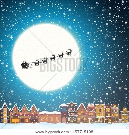 Christmas house in snowfall at the night. Happy holiday greeting card with town skyline, flying Santa Claus and deer black silhouettes, snow and big moon. Midtown houses panorama xmas poster. Vector winer illustration eps10