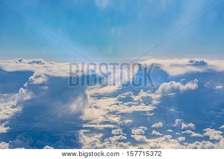 Above Clouds Airplane Window Blue Daytime Fluffy Column Wispy White Puffy