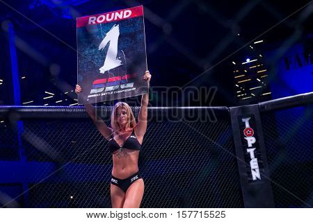 NOVI SAD SERBIA - NOVEMBER 05 2016 : MMA - SBC FIGHT TURNAMENT. GIRL IN THE RING ANNOUNCES FIRST ROUND EXTREME SPORT. FIGHT NIGHT PROFESIONAL ATHLETES.