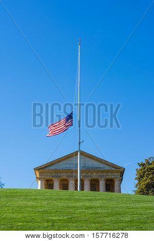 Arlington National Cemetery Jfk Memorial American Flag White Cross Green Hill Blue Sky