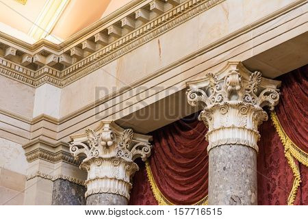Closeup Decorative Collumns Ornate Detail Architecture Marble Texture Top Style Support Greek