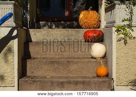 Different Size Halloween Autumn Pumpkins Decoration Porch Steps Entrance Patio House Home