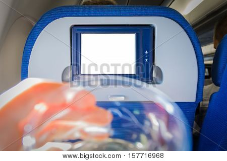 Drinking Glass Airplane Monitor Isolated White Passenger Seat Interior Electronic Display
