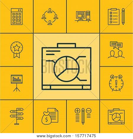 Set Of Project Management Icons On Decision Making, Investment And Reminder Topics. Editable Vector