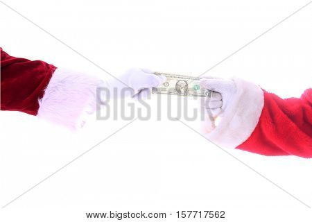 Two Santa Claus Arms Stretch or fight over a One Dollar Bill. Isolated on white with room for your text.
