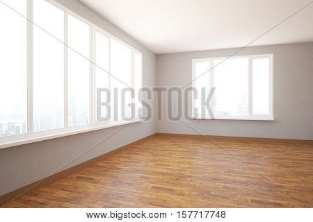 Side view of empty unfurnished modern interior with city view and daylight. 3D Rendering