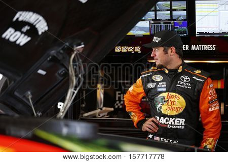 Homestead, FL - Nov 19, 2016: Martin Truex Jr. (78) hangs out in the garage during practice for the Ford EcoBoost 400 at the Homestead-Miami Speedway in Homestead, FL.