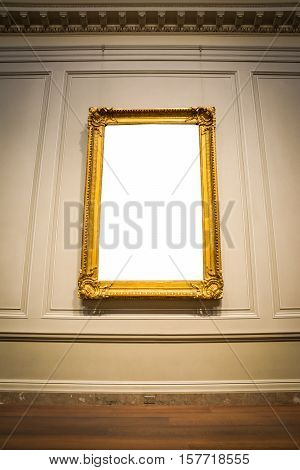 Ornate Picture Frame Art Gallery Museum Exhibit Interior White Clipping Path Isolated
