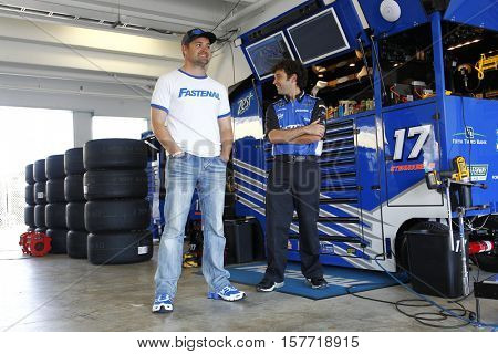 Homestead, FL - Nov 18, 2016: Ricky Stenhouse Jr. (17) hangs out in the garage during practice for the Ford EcoBoost 400 at the Homestead-Miami Speedway in Homestead, FL.