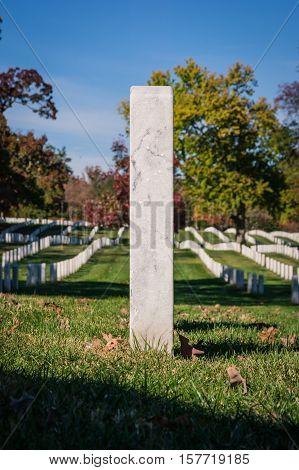 Single Closeup Gravestone Texture Surface Arlington National Cemetery Washington Dc Usa