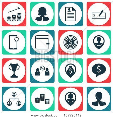Set Of Human Resources Icons On Tree Structure, Wallet And Pin Employee Topics. Editable Vector Illu