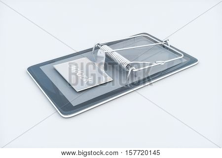 Mobile phone with mouse trap on white background. Smartphone dependency concept. 3D Rendering