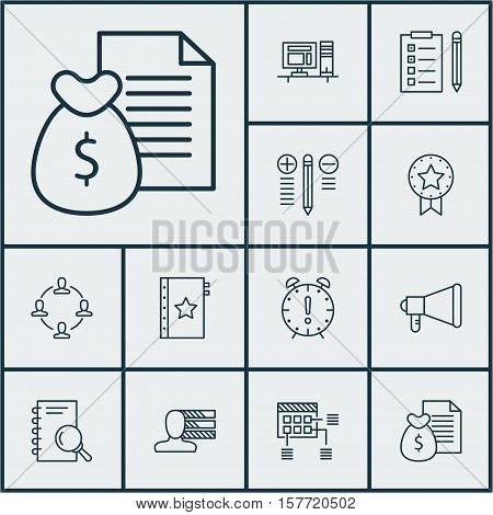 Set Of Project Management Icons On Collaboration, Report And Warranty Topics. Editable Vector Illust