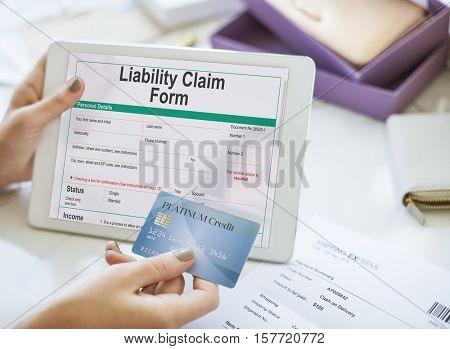 Liability Claim Form Document Application Concept