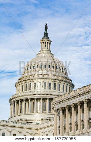 Us Capitol Buiding Washington Dc Dome Detail Closeup Alone Daylight Shadow Sunshine American Landmar