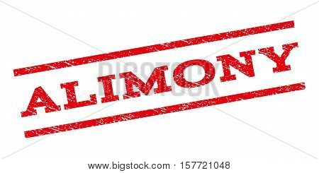 Alimony watermark stamp. Text tag between parallel lines with grunge design style. Rubber seal stamp with dust texture. Vector red color ink imprint on a white background.