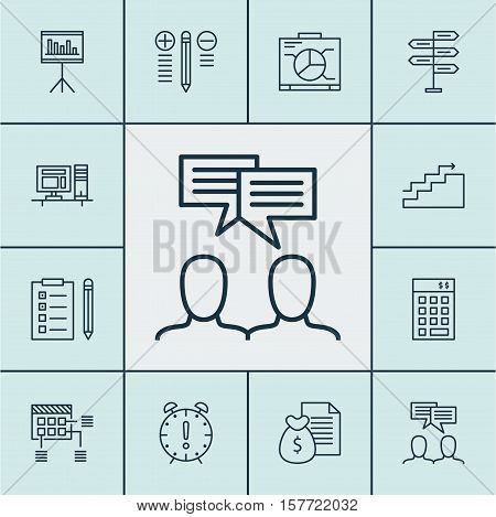 Set Of Project Management Icons On Computer, Report And Time Management Topics. Editable Vector Illu