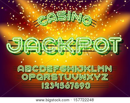 Jackpot casino lettering. Neon Light Alphabet Vector Font. Neon tube letters on dark glow background
