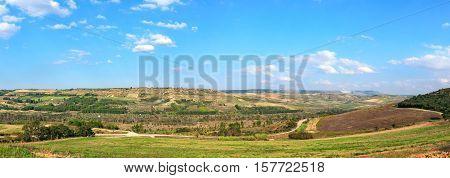 Basilicata typical rural landscape in panoramic format